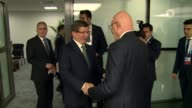 Prime Minister of Turkey Ahmet Davutoglu meets Prime Minister of Lebanon Tammam Salam within the 13th Organization of Islamic Cooperation Summit in...