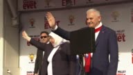 Prime Minister of Turkey and the leader of the Turkey's ruling Justice and Development Party Binali Yildirim addresses the crowd during a meeting in...