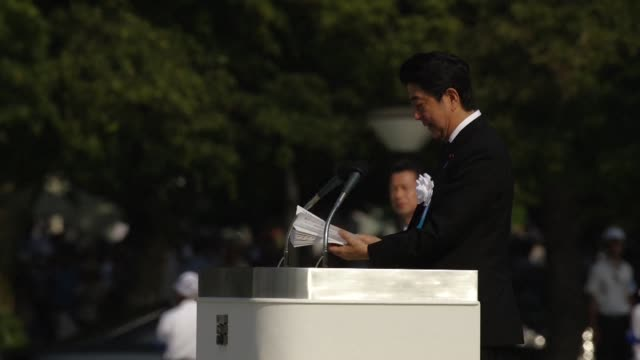 Prime Minister Shinzo Abe says Japan has a mission to create a world without nuclear weapons during a ceremony marking 70 years since the atomic...