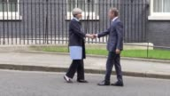 Prime Minister Theresa May greets European Council president Donald Tusk outside 10 Downing Street London ahead of Brexit talks Followed by footage...