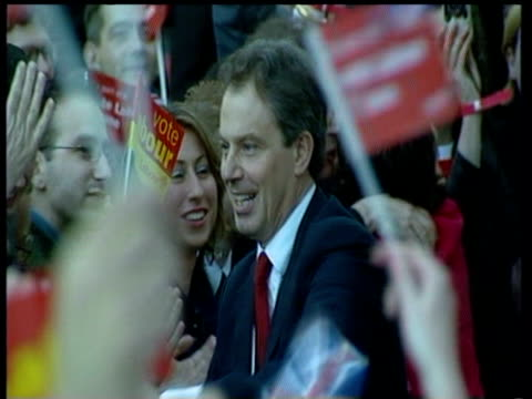Prime Minister Tony Blair celebrates at Millbank Tower after second Labour Victory Shakes hands with crowds and hugs Neil Kinnock former Labour...