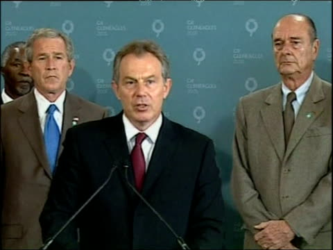 Prime Minister Tony Blair makes statement to press in front of G8 leaders following London bombings 7th July 2005
