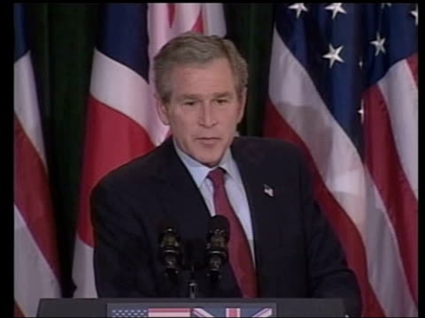 Prime Minister Tony Blair MP and US President George WBush along to podiums George WBush speech SOT Pleased with the new leader of the Palestinian...