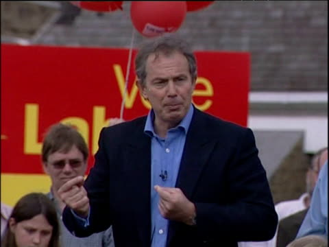 Prime Minister Tony Blair speaks at rally during general election campaign about