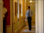 Prime Minister Tony Blair walks down corridor inside No 10 Downing Street London Dec 00