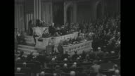VS Prime Minister Winston Churchill speech to joint session of US Congress Vice President Henry Wallace Speaker of the House Sam Rayburn behind him /...