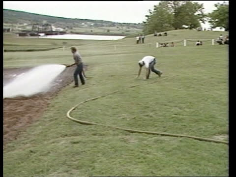 Prince and Princess of Wales Royal Tour of Canada Week 1 Nova Scotia Annapolis Town Hall and crowds fire engine arrive to water landing strip hoses...