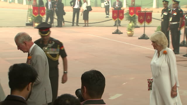 Prince Charles and Camilla Duchess of Cambridge paying respects at The India Gate New Delhi