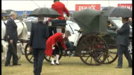 Prince Charles and Duchess of Cornwall at Sandringham Flower Show ENGLAND Norfolk Sandringham THROUGHOUT*** Horse drawn carriage pulls up / Prince...