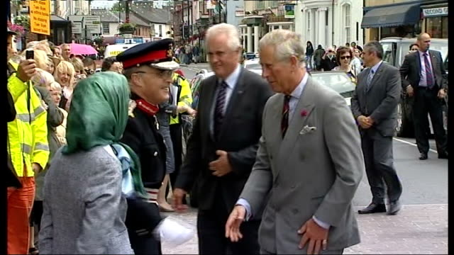 Prince Charles and Duchess of Cornwall visit Welsh Quilt Centre WALES Lampeter Jen Jones Welsh Quilt Centre EXT Prince Charles and Camilla Duchess of...