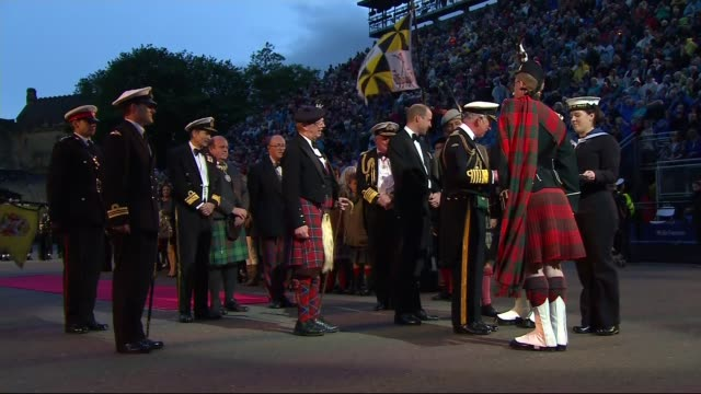 Prince Charles and Prince William attend Royal Edinburgh Military Tattoo SCOTLAND Edinburgh Edinburgh Castle PHOTOGRAPHY*** Car into arena / Prince...