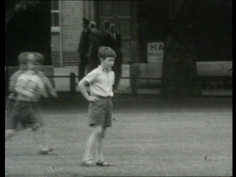 Part 1 Prince Charles' School Sports Day ENGLAND Berkshire Cheam Preparator School EXT B/W Queen Elizabeth II Prince Philip and Princess Anne arrive...