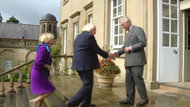 Prince Charles meets President of Ireland at Dumfries House SCOTLAND Dumfries House EXT Cars arriving / Michael D Higgins and Sabina Coyne arriving...