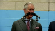 Prince Charles opens Stroud Festival of Manufacturing and Engineering 'Festomane' backdrop / Prince Charles Prince of Wales speech SOT / Charles...