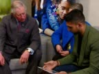 Prince Charles spends the afternoon at a National Citizen Service event Shows interior shots Prince Charles talking with Amir Khan as he sends a...