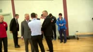 Prince Charles visit to Dumfries House Charles speaking to group / Charles meeting children playing tabletennis / Charles playing table tennis