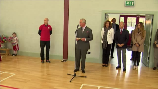 Prince Charles visit to Dumfries House SCOTLAND Dumfries House INT Prince Charles along into building and handshakes / Prince Charles speech SOT /...