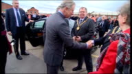 Prince Charles visits Bombardier factory in Derby Charles shaking hands with dignitaries and Beckett SOT / Charles getting in car