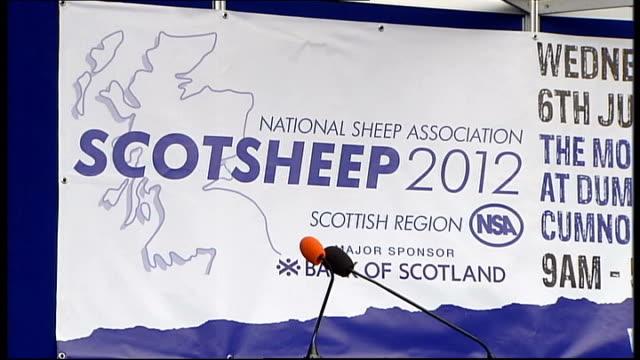 Prince Charles visits National Sheep Association's Scotsheep 2012 SCOTLAND Dumfries EXT 'National Sheep Association Scotsheep 2012' banner
