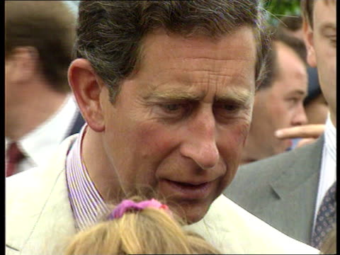 Prince Charles visits Wales on 25th anniversary of his investiture WALES Rhondda EXT Prince Charles RL as greeting people in crowd