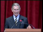 speech USA Washington DC National Building Museum INT Prince Charles Prince of Wales onto stage to receive architecture prize and speech SOT Jokes...