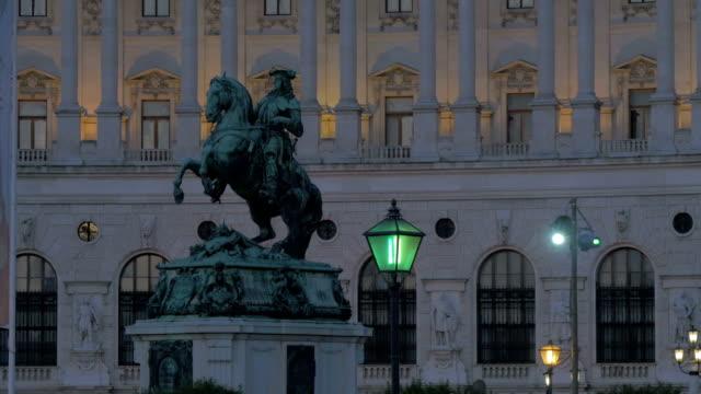 Prince Eugene of Savoy statue. Hofburg palace at night.C/Up. Pan In.