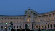 Prince Eugene of Savoy statue. Hofburg palace at night.Wide shot.