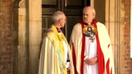 Prince George christened at St James's Palace Arrivals *** WARNING Man with lance talking to Welby and Chartres / GVs guests arriving and walking...