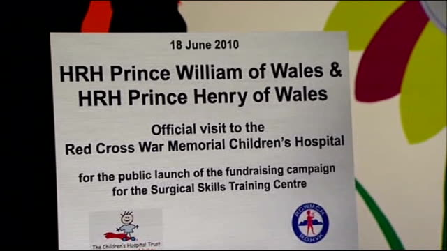 Prince Harry and Prince William hospital visit Prince William and Prince Harry unveiling commemorative sign and both presented with paintings by...