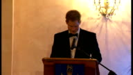 Prince Harry attends State Banquets JAMAICA INT Prince Harry at State Dinner in black dinner suit with with black bowtie making speech SOT