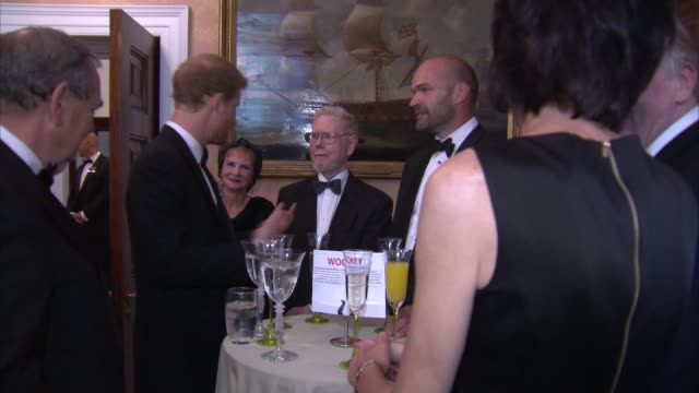 Prince Harry attends Vernon Monument Falklands charity dinner ENGLAND London Trinity House PHOTOGRAPHY*** Car arriving / Prince Harry out and greeted...
