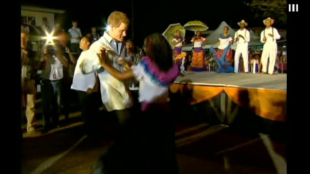 Prince Harry Diamond Jubilee tour of Caribbean and Brazil Harry dances in Belize BELIZE Belmopan PHOTOGRAPHY*** Prince Harry dancing folk style dance...