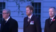 Prince Harry marks ANZAC Day at dawn service in London British Australian and New Zealand national anthems played SOT