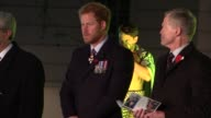Prince Harry marks ANZAC Day at dawn service in London ENGLAND London Hyde Park Corner EXT EARLY MORNING Various of Royal Artillery Memorial /...