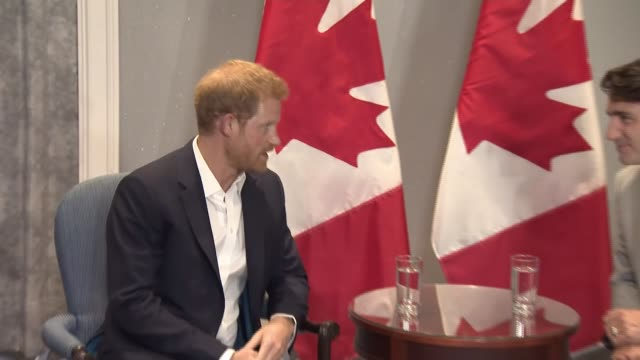 Prince Harry meets Justin Trudeau CANADA Ontario Toronto PHOTOGRAPHY*** Prince Harry photocall with Justin Trudeau / seated and chatting