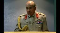 Ministry of Defence statement ENGLAND London INT General Sir Richard Dannatt along to press conference / General Sir Richard Dannatt press conference...