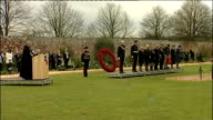Prince Harry opens Field of Remembrance Military band standing silent as bells toll SOT / Bugler playing Last Post SOT / Prince Harry on stage for...