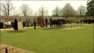Prince Harry opens Field of Remembrance Veterans in wheelchairs with poppies and medals on lapel / Clergyman reading service SOT / Prince Harry on...