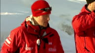 Prince Harry training for North Pole Walking Wounded fundraising trek NORWAY Spitsbergen EXT Various shots of three 'Walking Wounded' team members on...