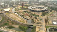 Prince Harry visits Olympic Park ahead of official opening AIR VIEWS Queen Elizabeth Olympic Park Olympic Stadium and ArcelorMittal Orbit observation...