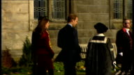 Prince William and Kate Middleton visit St Andrews University SCOTLAND Fife St Andrews EXT Procession and peel of bells of uniformed men through...