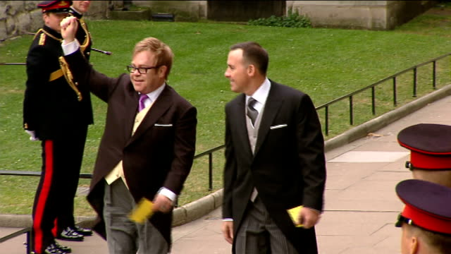 Prince William and Kate Middleton wedding day fashion and wedding style EXT Diplomats arriving at Westminster Abbey David and Victoria Beckham...