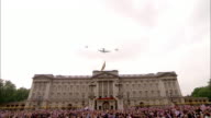 Prince William and Princess Catherine watch the military flypast from the balcony of Buckingham Palace Available in HD