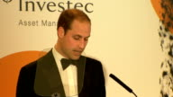 Prince William attends Tusk Conservation Awards Prince William speech SOT / Event ends