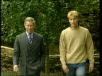 KEIR ENGLAND Gloucestershire Highgrove Press PAN RL Prince William standing beside wall with father Prince Charles the Prince of Wales Prince William...