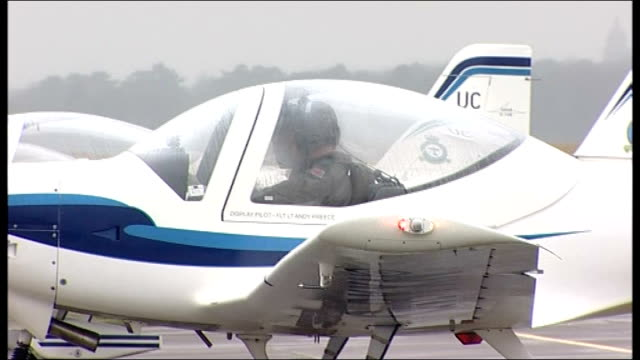 Prince William undertakes flight in light aircraft for RAF training course ENGLAND Lincolnshire RAF Cranwell EXT Row of RAF light aircraft Grob 115E...