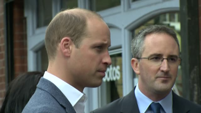 Prince William visit to drug charity in Shoreditch ENGLAND London Spitalfields EXT Prince William Duke of Cambridge arrives at Spitalfields where he...