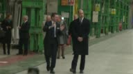 Prince William visits Bombardier factory in Derby ENGLAND Derby Bombardier factory EXT Prince William the Duke of Cambridge from car and greeted...