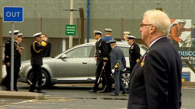 Prince William visits HM Naval Base Clyde SCOTLAND Glasgow Faslane HM Naval Base Clyde EXT Prince William out of car and greeted by Naval officers/...