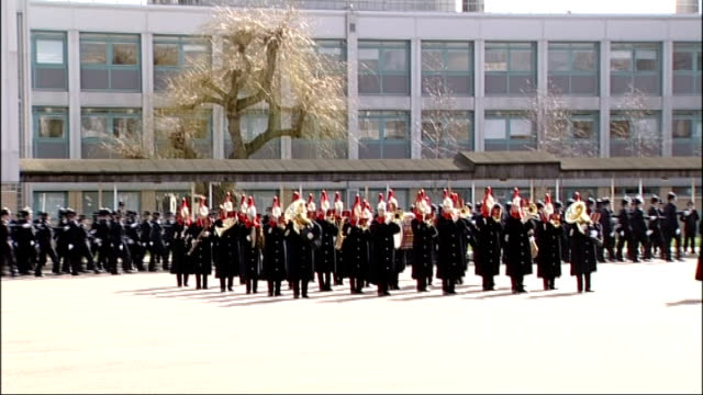 Prince William visits police training centre ENGLAND London Hendon Police Training College EXT Police cadets marching in passing out ceremony /...